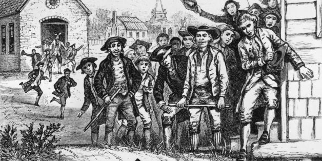 1786:  Two men fighting during Shay's rebellion in Western Massachusetts.  (Photo by Hulton Archive/Getty Images)