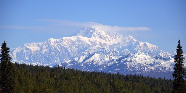 DENALI NATIONAL PARK, AK - MAY 17: A general view of Mt. McKinley (top center) on May 17, 2014 in Denali National Park, Alask