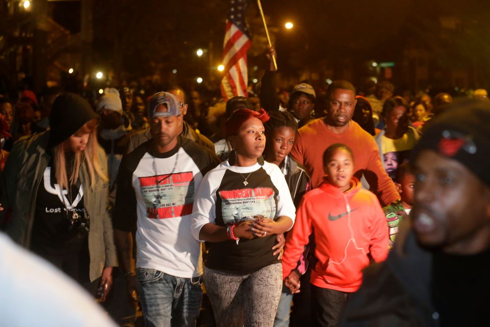 Lesley McSpadden, center, mother of Michael Brown, marches in a protest in Ferguson, Missouri on Saturday, Oct. 11, 2014.