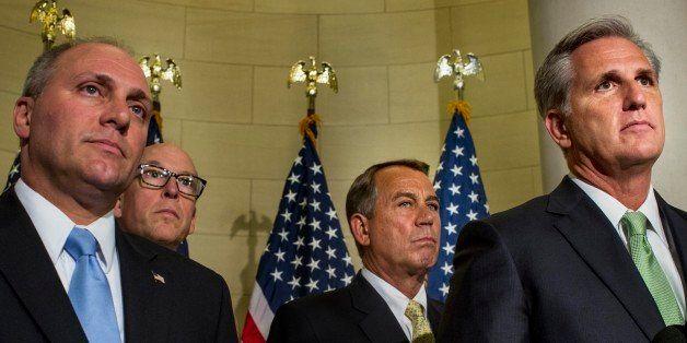 WASHINGTON, DC - JUNE 19:  (L-R) Speaking to the media, House Majority Whip Steve Scalise (R-LA), Rep. Greg Walden (R-OR), Sp