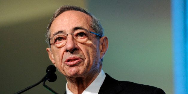 FILE- In this Oct. 18, 2011 file photo, former New York Gov. Mario Cuomo speaks from the podium at the Game Changers Awards a