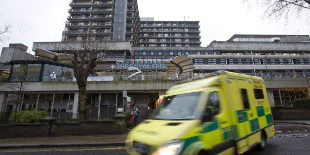 An ambulance pulls away from The Royal Free hospital in north London on Janurary 3, 2015, where it was announced that British