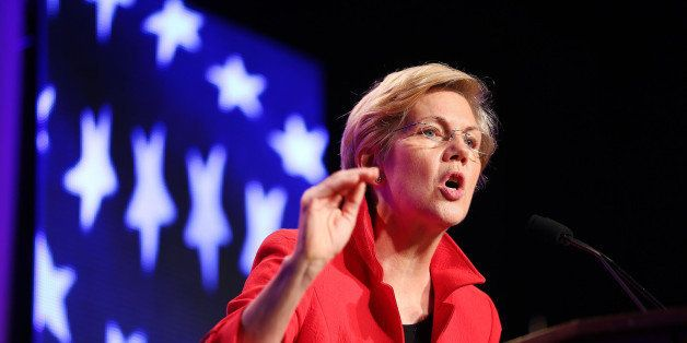 WORCESTER, MA - JUNE 13: Senator Elizabeth Warren speaks to the crowd at the Democratic State Convention at the DCU Center in