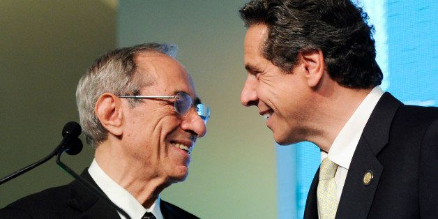 """Former Governor of New York Mario Cuomo, left, introduces his son and current Governor of New York and """"Game Changer"""" honoree"""