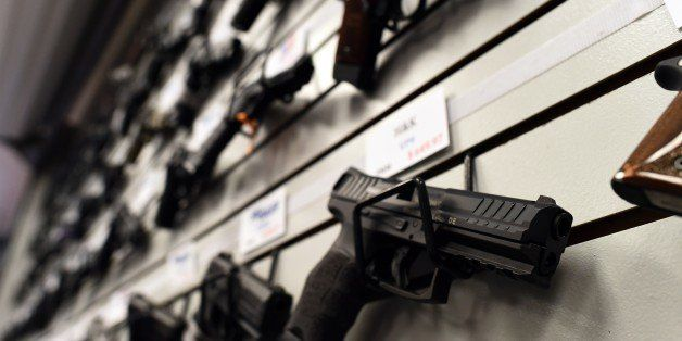 Handguns are displayed at the Ultimate Defense Firing Range and Training Center in St Peters, Missouri, some 20 miles (32 kil