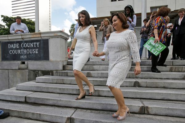Pareto and Arguello leave the courthouse to apply for a marriage license after the stay was lifted for Miami-Dade hours ahead