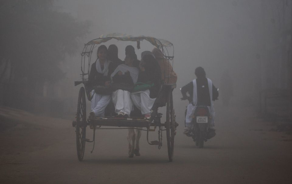 Indian students travel on a horse cart surrounded by fog in Jammu, India, Thursday, Dec.18, 2014. As winter sets in, thick fo