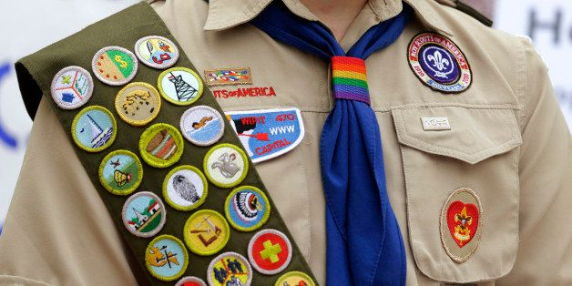 The Boy Scout uniform of Pascal Tessier, 17, a gay Eagle Scout from Kensington, Md., includes his merit badges and a rainbow-