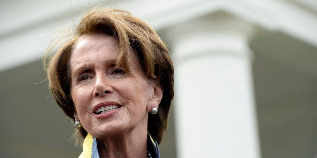 House Minority Leader Nancy Pelosi of Calif. speaks to reporters outside the West Wing of the White House in Washington, Tues