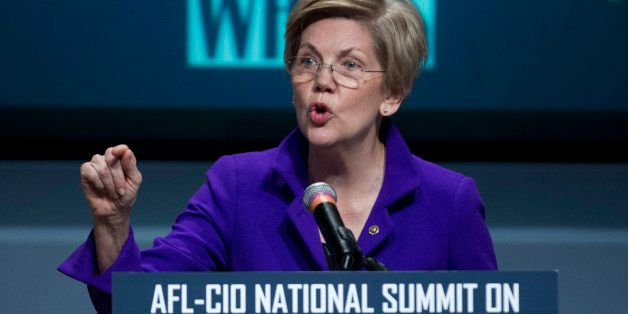 Sen. Elizabeth Warren, D-Mass. speaks about raising wages during the forum AFL-CIO National Summit, Wednesday, Jan. 7, 2015,