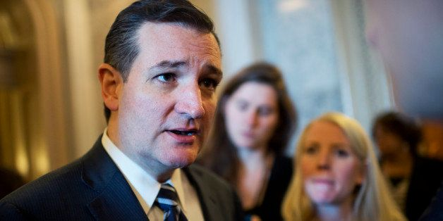 UNITED STATES - JANUARY 07: Sens. Ted Cruz, R-Texas, talks with reporters before the senate luncheons in the Capitol, January