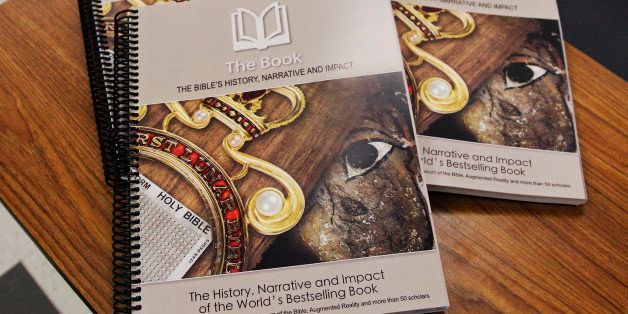 File - This April 18, 2014 file photo shows a textbook by the Museum of the Bible which will be used for a new elective cours
