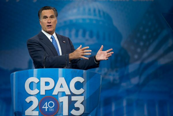 "Romney spoke at the 40th annual Conservative Political Action Conference in March 2013. <a href=""http://www.politico.com/stor"
