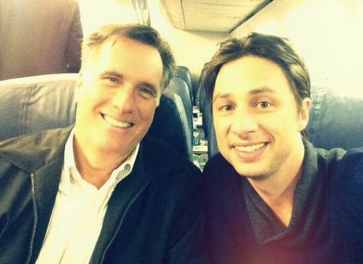 """""""Scrubs"""" actor Zach Braff documented a run-in with Romney on Twitter in January 2014. The two were """"<a href=""""https://www.huff"""
