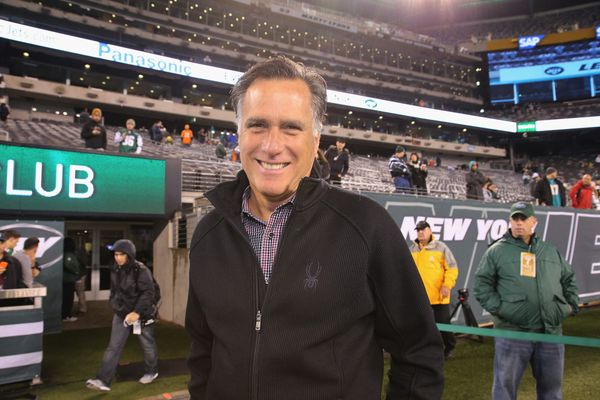 Romney attended the New York Jets vs. Miami Dolphins game at MetLife Stadium on Dec. 1, 2014, in East Rutherford, New Jersey.