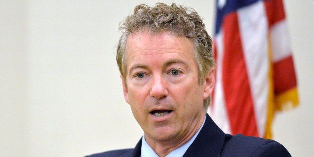 FILE - In this Nov. 21, 214 file photo, Sen. Rand Paul, R-Ky. speaks in Highland Heights, Ky.  The presidential contest that'