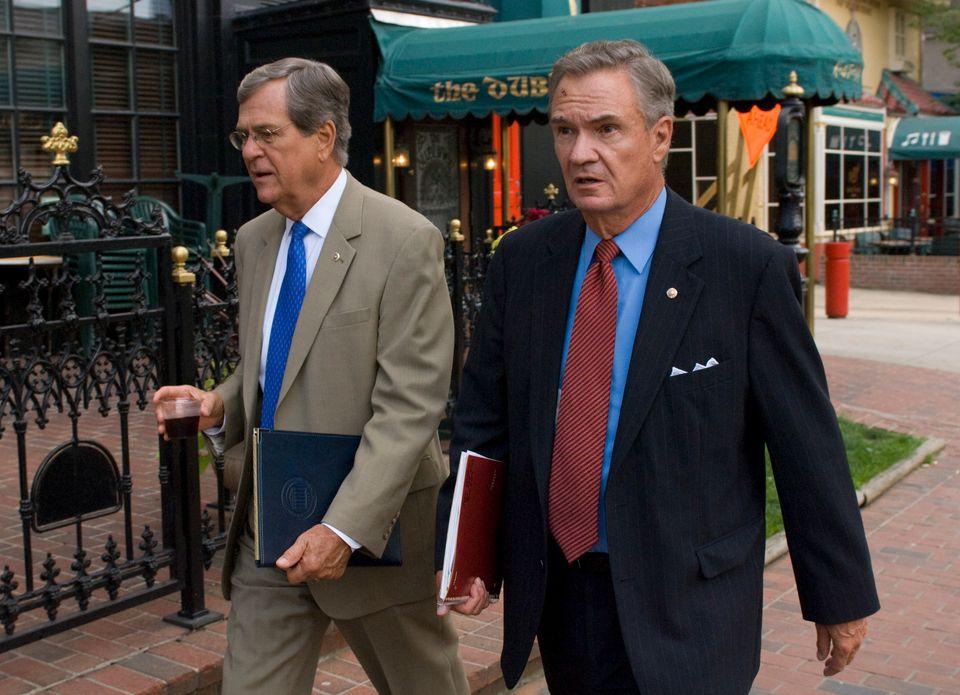 Former Sens. Trent Lott (R-Miss.), left, and John Breaux (D-La.) started the lobbying group Breaux Lott Leadership Group in 2