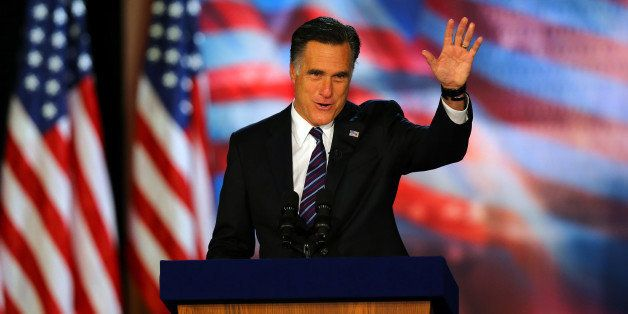 BOSTON, MA - NOVEMBER 07: Republican presidential candidate, Mitt Romney, waves to the crowd while speaking at the podium as he concedes the presidency during Mitt Romney's campaign election night event at the Boston Convention & Exhibition Center on November 7, 2012 in Boston, Massachusetts. After voters went to the polls in the heavily contested presidential race, networks projected incumbent U.S. President Barack Obama has won re-election against Republican candidate, former Massachusetts Gov. Mitt Romney. (Photo by Joe Raedle/Getty Images)