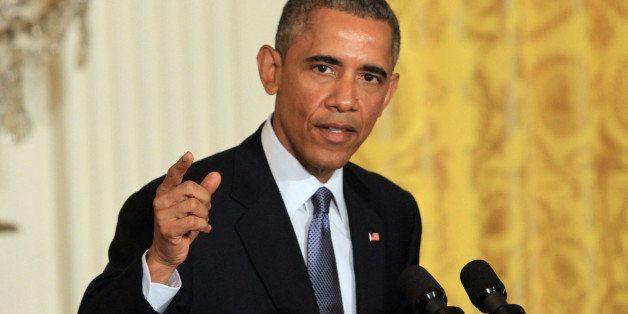 WASHINGTON, DC - JANUARY 16: U.S. President Barack Obama holds a press conference at the East Room of the White House January