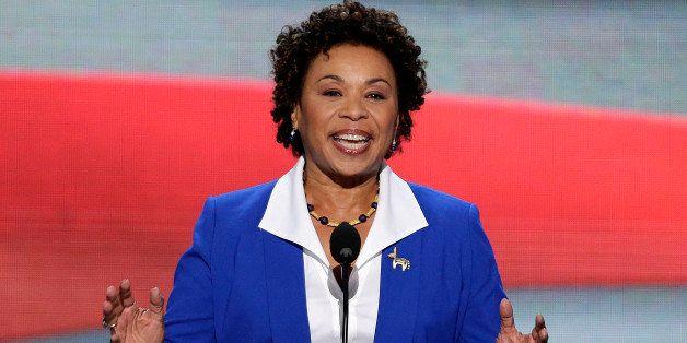 Rep. Barbara Lee of California addresses the Democratic National Convention in Charlotte, N.C., on Tuesday, Sept. 4, 2012. (A