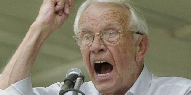 Former U.S. Sen. Wendell Ford of makes a point while addressing the crowd at the 120th Fancy Farm Picnic, Saturday, Aug. 5, 2