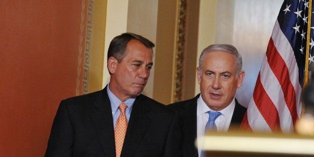 House Speaker John Boehner, R-OH, and Israeli Prime Minister Benjamin Netanyahu make their way to the lectern to deliver stat