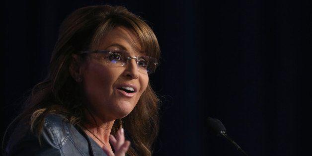 WASHINGTON, DC - SEPTEMBER 26:  Former Alaska Gov. Sarah Palin (R) speaks at the 2014 Values Voter Summit September 26, 2014
