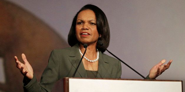 Former Secretary of State Condoleezza Rice gestures while speaking before the California Republican Party 2014 Spring Convent