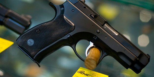 RALEIGH, NORTH CAROLINA - FEBRUARY 2:  Guns are displayed for sale at the Personal Defense & Handgun Safety Center, Inc. Febr