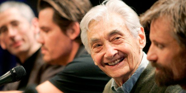 "Author Howard Zinn, second from right, takes part in a panel discussion about an upcoming mini-series entitled ""The People Sp"
