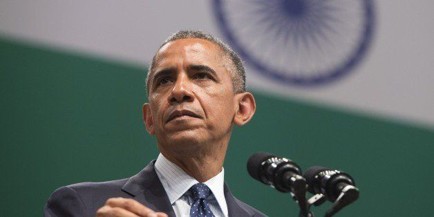 US President Barack Obama speaks on US - India relations during a townhall event at Siri Fort Auditorium in New Delhi on Janu