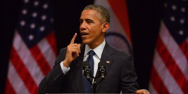 NEW DELHI, INDIA - JANUARY 27: U.S. President Barack Obama addresses at Siri Fort Auditorium on January 27, 2015 in New Delhi