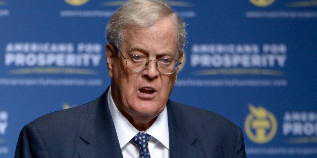 FILE - In this Aug. 30, 2013, file photo, Americans for Prosperity Foundation Chairman David Koch speaks in Orlando, Fla. The