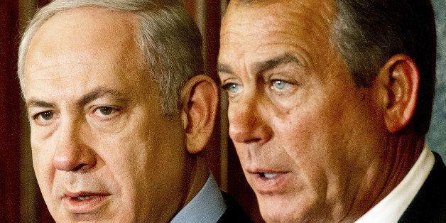 Israeli Prime Minister Benjamin Netanyahu(L) and US House of Representatives Speaker Johh Boehner(R-OH), deliver remarks to t