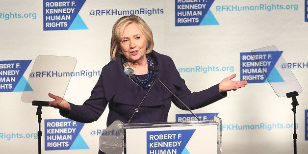 NEW YORK, NY - DECEMBER 16:  Hillary Rodham Clinton speaks at the 2014 Robert F. Kennedy Ripple of Hope Gala at New York Hilt