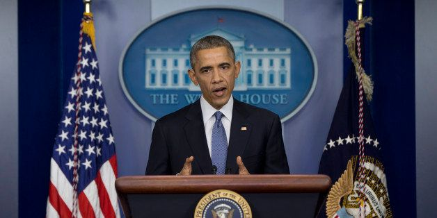 President Barack Obama speaks during a news conference in the Brady Press Briefing Room of the Whire House in Washington, Fri