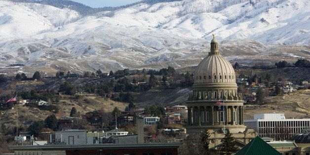 BOISE, IDAHO - JANUARY 14: A view of the Idaho State Capitol prior to the game between the Bakersfield Jam and the Utah Flash