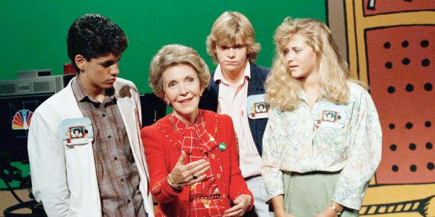 "First Lady Nancy Reagan urges youngsters in Burbank to ""say no to drugs,"" as three young Los Angeles actors watch, Sept. 26,"