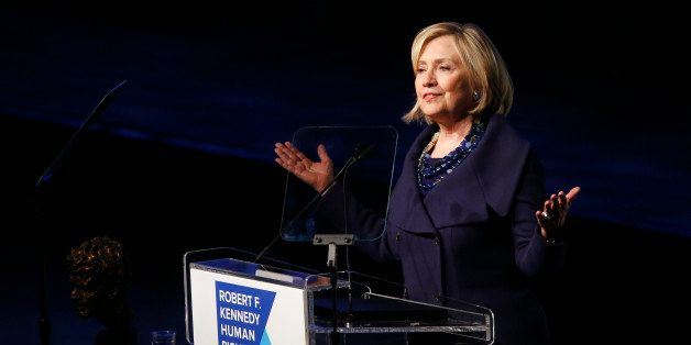 Former Secretary of State Hillary Rodham Clinton speaks after accepting the Robert F. Kennedy Ripple of Hope Award during a c