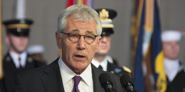 Departing US Secretary of Defense Chuck Hagel delivers remarks at his Armed Forces Farewell Ceremony at Joint Base Fort Myer-