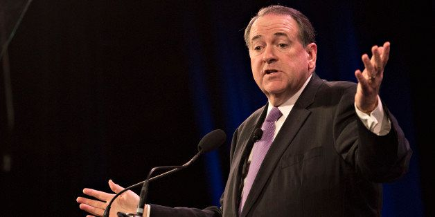 Mike Huckabee, former governor of Arkansas, speaks during the Iowa Freedom Summit in Des Moines, Iowa, U.S., on Saturday, Jan