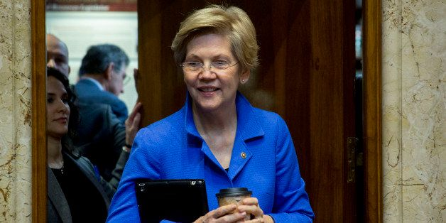 Senator Elizabeth Warren, a Democrat from Massachusetts, arrives to a Senate Energy and Natural Resources Committee business