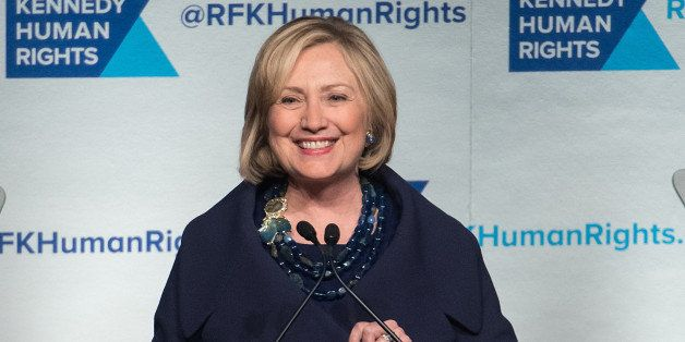 NEW YORK, NY - DECEMBER 16:  Event honoree Hillary Rodham Clinton speaks on stage during the 2014 Robert F. Kennedy Ripple Of