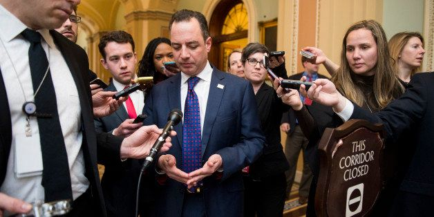UNITED STATES - FEBRUARY 3: RNC chairman Reince Priebus speaks to reporters as he leaves the Senate Republicans' policy lunch