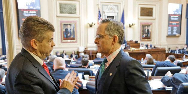 House majority leader, Del. Kirk Cox, R-Colonial heights, talks with Senate Republican floor leader, Sen. Thomas Norment, R-J