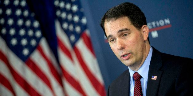 Scott Walker, governor of Wisconsin, speaks during a panel discussion at the American Action Forum in Washington, D.C., U.S.,