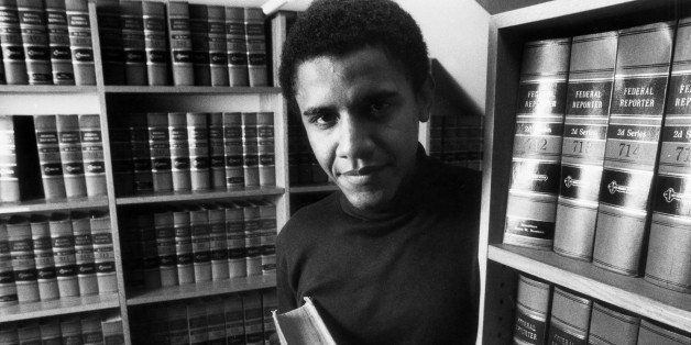 CAMBRIDGE - FEBRUARY 5: Barack Obama poses in the office of The Harvard Law Review on Monday, Feb. 5, 1990, after being named