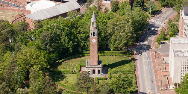 CHAPEL HILL, NC - APRIL 21: An aerial view of the University of North Carolina campus including the Morehead-Patterson Bell T