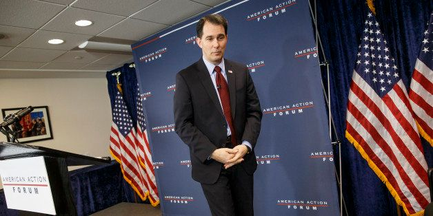 Wisconsin Gov. Scott Walker speaks at the American Action Forum in Washington, Thursday, Jan. 29, 2015.  Shifting his focus t