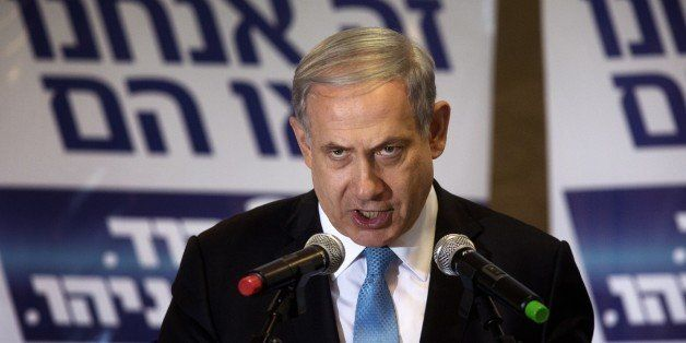 Israeli Prime Minister and Likud party leader Benjamin Netanyahu delivers a speech to his supporters during an election campa